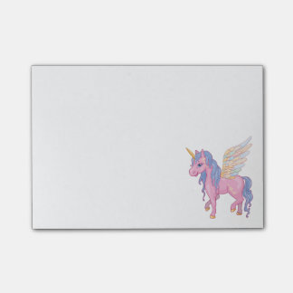 Den gulliga unicornen med regnbågen påskyndar post-it lappar