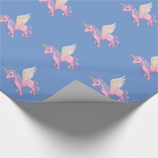 Den gulliga unicornen med regnbågen påskyndar presentpapper