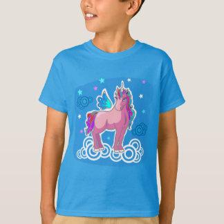 Den gulliga unicornen med regnbågen påskyndar t-shirt