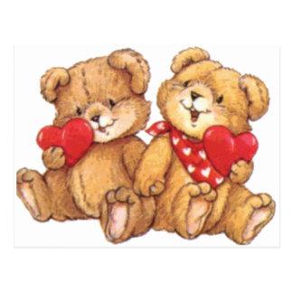 Den gulliga valentinnallen kopplar ihop vykort