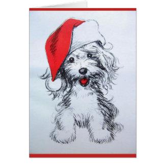 Den gulliga valpen Santa skissar kortet Hälsningskort