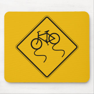 Den hala cykeln, när blöta, trafikerar varning musmatta