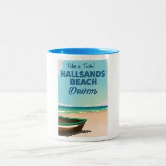 Den Hallsands strandDevon stranden reser affischen Två-Tonad Mugg