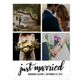 Den handskrivna ny gifta skrivar bröllopfotoet vykort