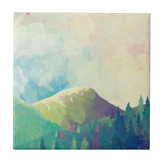 Den härliga skogen landskap - vattenfärgkonst kakelplatta