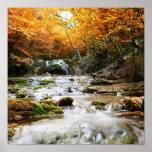 Den härliga vattenfallet i skogen, höst print