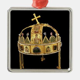 Den heliga kronan av Ungern, 11th-12:eårhundrade Silverfärgad Fyrkantigt Julgransprydnad