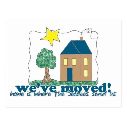 Den hem- vi har flyttat… är var seabeesna överför  vykort