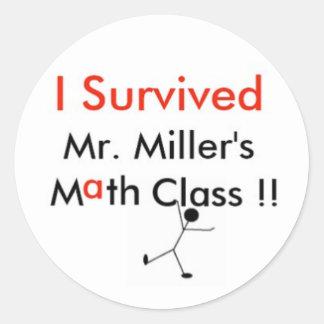Den Herr mjölnare Math klassificerar Runt Klistermärke