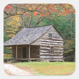 Den historiska platsen loggar kabinen i rökigt fyrkantigt klistermärke