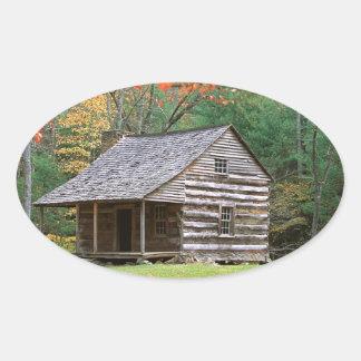 Den historiska platsen loggar kabinen i rökigt ovalt klistermärke