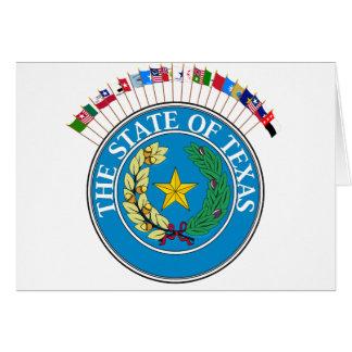 Den historiska Texas flaggor med förseglar Hälsningskort