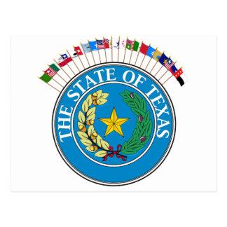 Den historiska Texas flaggor med förseglar Vykort