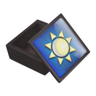 Den högvärdiga gåvan boxas solsymbolen premie minnesaskar