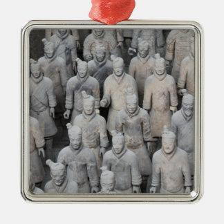 Den högvärdiga terrakottaarmén kvadrerar prydnaden julgransprydnad metall