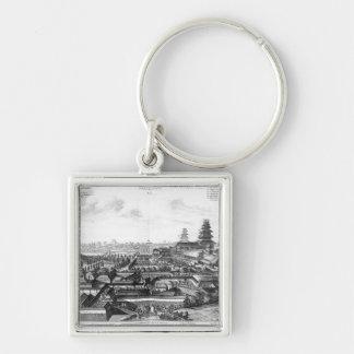 Den imperialistiska slotten i Ido, Japan Fyrkantig Silverfärgad Nyckelring