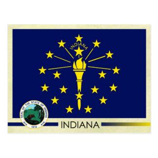 Den Indiana statlig flagga och förseglar Vykort