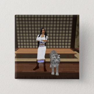 Den indiska damen och vittigern knäppas standard kanpp fyrkantig 5.1 cm