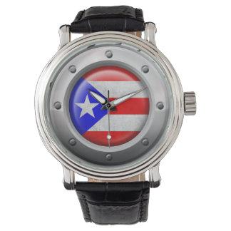 Den industriella Puerto Rican flagga stålsätter Armbandsur