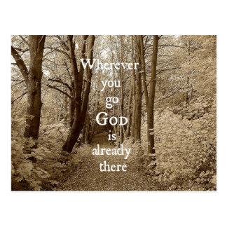 Den inspirera guden är redan där det kristna vykort