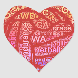 Den inspirera netballen placerar hjärtadesign hjärtformat klistermärke