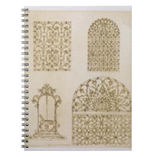 Den islamiska ironworken grillar för fönster och b anteckningsbok