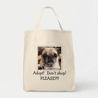 Den Itsy mopstotot hänger lös: Adoptera! Shoppa Mat Tygkasse