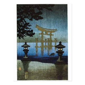 Den japanska aftonen regnar träklosskonst Ukiyo-e Vykort