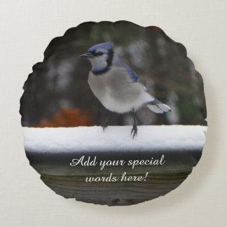 Den Jay för personligrundablått fågeln kudder Rund Kudde