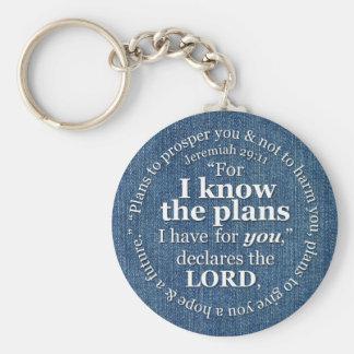 Den Jeremiah 29:11 vet jag att planerar Rund Nyckelring