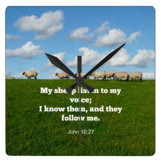 Den John 10:27, lyssnar min får till mitt Fyrkantig Klocka