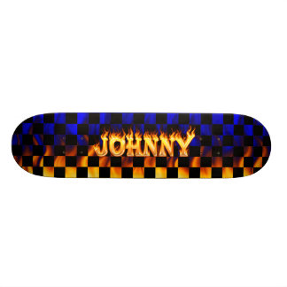 Den Johnny skateboarden avfyrar och flammar design Skateboard Bräda 20 Cm