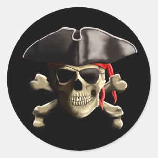 Den Jolly Roger piratskallen Runt Klistermärke