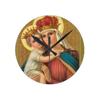 Den jungfruliga Mary w/Child Jesus akrylväggen tar Rund Klocka