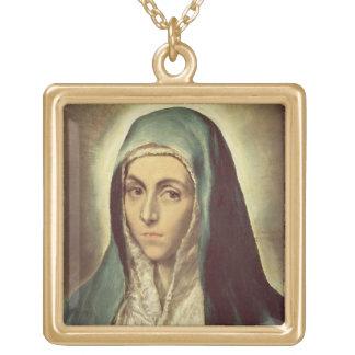 Den jungfruliga sorgen (olja på kanfas) guldpläterat halsband