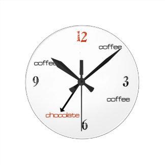 Den kaffe- och chokladTime väggen tar tid på Rund Klocka