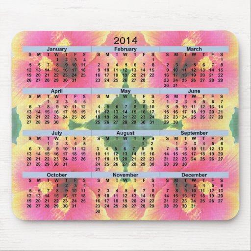 Den Kaleido för 2014 kalender hibiskusen blommar M Musmattor