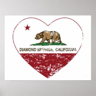 den Kalifornien flaggadiamanten fjädrar bedrövad h Affisch