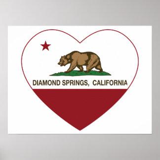 den Kalifornien flaggadiamanten fjädrar hjärta Print