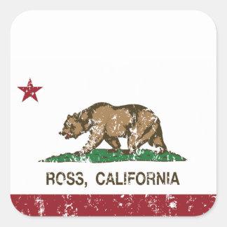 Den Kalifornien republiken sjunker Ross Fyrkantigt Klistermärke