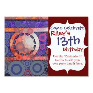 Den kalla funkyn cirklar mosaisk röd 12,7 x 17,8 cm inbjudningskort