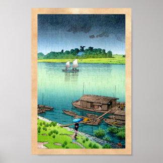 Den kalla orientaliska japanska landskapflodsidan poster