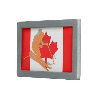 Den kanadensiska flagga Kanada skidar skidåkning