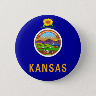 Den Kansas flagga knäppas Standard Knapp Rund 5.7 Cm