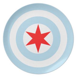 Den kaptenChicago flagga skyddar middagen/visning  Tallrik
