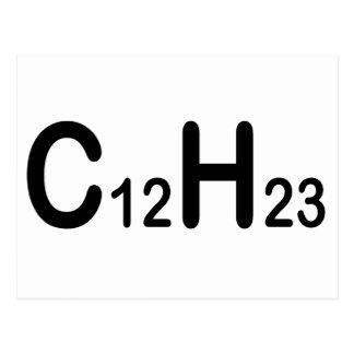 Den kemiska formeln av dieseln tankar vykort