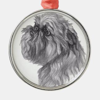 Den klassikerBryssel Griffon hunden profilerar Julgransprydnad Metall