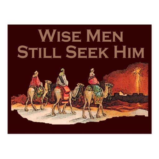 Den kloka manar stillar sökanden honom, jul vykort