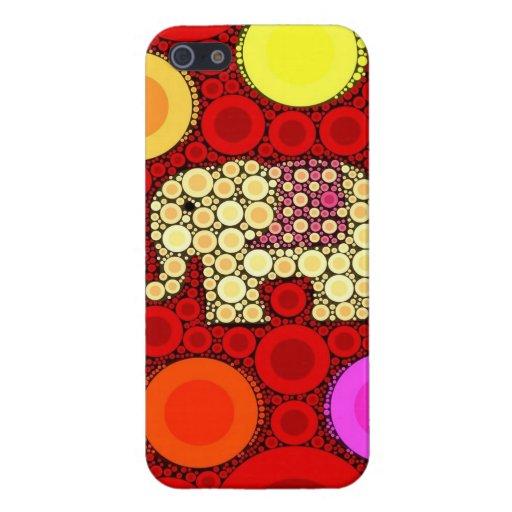 Den koncentriska skraj röda elefanten cirklar mosa iPhone 5 cases