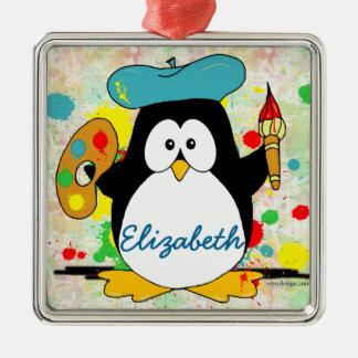 Den konstnärliga pingvinmålare personifierar julgransprydnad metall